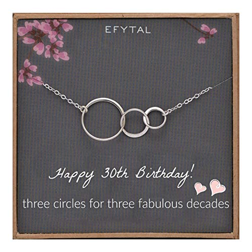 EFYTAL 30th Birthday Gifts for Women Sterling Silver Three Circle Necklace for Her 3 Decade Jewelry 30 Years Old ()