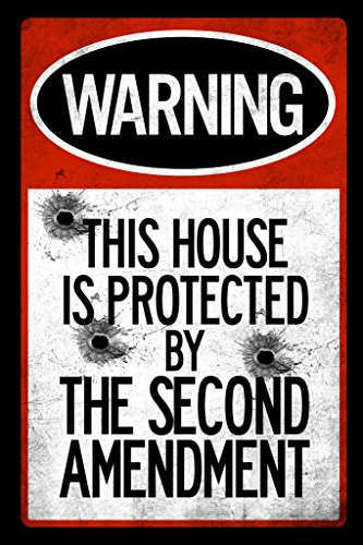 Warning Sign This House Protected By Second Amendment Bullet Holes Poster 12x18