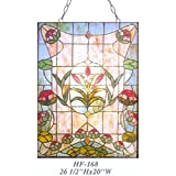 HF-168 Pastoral Vintage Tiffany Style Stained Glass Decorative Vivid Flower Window Hanging Glass Panel Suncatcher, 26.5''x20''
