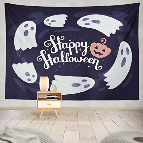 Happyome Autumn Tapestry, Wall Hanging Tapestry with Scary Face and Lettering Happy Halloween Autumn Badge Wall Tapestry Dorm Home Decor Bedroom Living Room in 80WX60L -