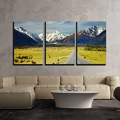Landscape with Road and Snowy Mountains Southern Alps New Zealand x3 Panels