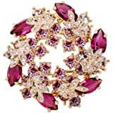 Silver Shoppee Immaculate 22K Yellow Gold Plated Swarovski Crystal Studded Alloy Brooch for Girls and Women