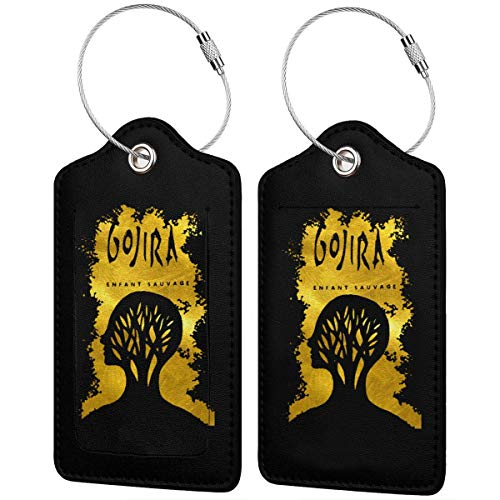 Leather Luggage Tags Gojira L'enfant Sauvage Name ID Labels For Travel Suitcase Baggage Bag Set Of 2