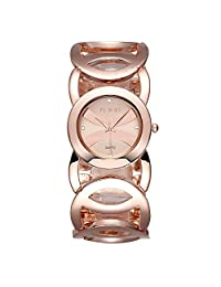 Gosasa Women's Rose Gold-Tone Bangle Bracelet Watches with Hollow Out Strap and Crystal Rhinestone