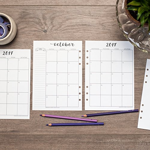 2018-2019 Academic Monthly Calendar for A5 Planners, fits Filofax, Kikki K, Carpe Diem Planners, 6 Ring binder, 5.8