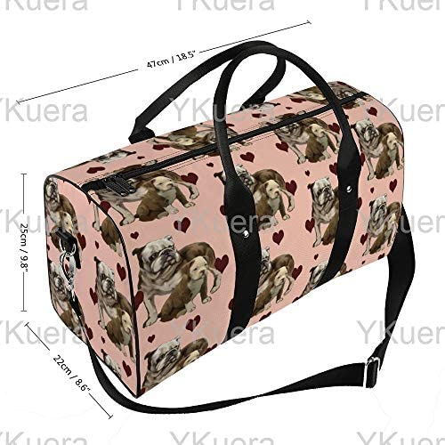 ブルドッグ愛1 旅行バッグナイロンハンドバッグ大容量軽量多機能荷物ポーチフィットネスバッグユニセックス旅行ビジネス通勤旅行スーツケースポーチ収納バッグ