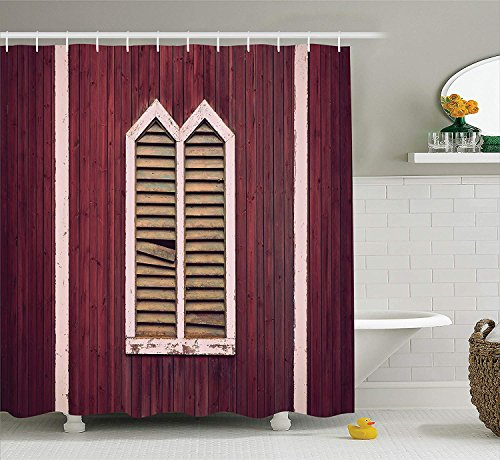 AshasdS Shutters Decor Shower Curtain Set Window Frame with Shutters on Wooden Wall Vintage Style Decorating Artwork Print Bathroom Burgundy Pink 60 x 72 in