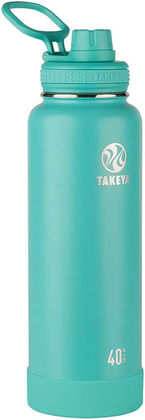 Takeya Actives Insulated Stainless Steel Water Bottle with Spout Lid, 40 oz, Teal