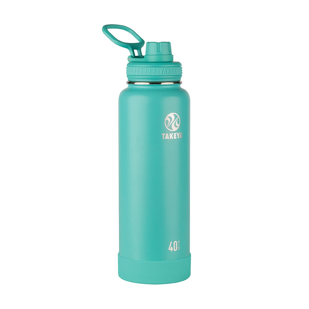 Takeya Actives Vacuum-Insulated Stainless-Steel Water Bottle with Insulated Spout Lid, 40oz, Teal 51008