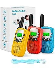 Fansteck 3-delige walkietalkies voor kinderen, draadloze set met zaklamp, 8 kanalen, 3 km bereik met touwen, speelgoed voor 3,4,5,6,7,8,9 jaar, geschikt voor vrijetijdspark, tenten, shopping, indoor