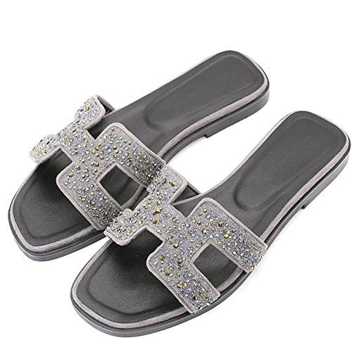 Cómodo Zapato de cuero del Rhinestone del deslizador de las mujeres plano con los deslizadores Zapatillas de deporte femeninas del recorrido del verano H de los deslizadores frescos de la manera (3 co B