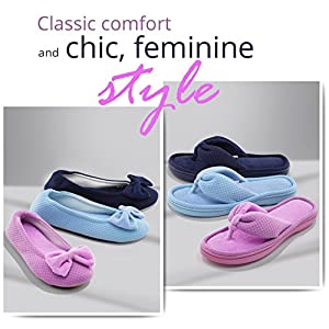 ULTRAIDEAS Women's Comfort Memory Foam Slippers w/Stretchable Terry Heel for Indoor & Outdoor Use