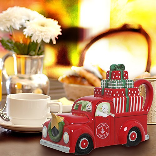 MyGift Holiday Red Ceramic Snowman Christmas Truck Design Novelty Teapot / Hot Beverage Serving Pitcher