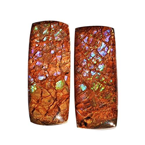 (ABC Jewelry Mart Natural Ammolite Pair Cabochon, Blue Green Flashy Ammonites, Size 25x10x5 MM, Meditation Stone AG-12131)