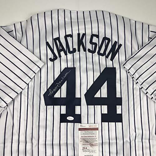 Autographed/Signed Reggie Jackson New York NY Pinstripe Baseball Jersey JSA COA