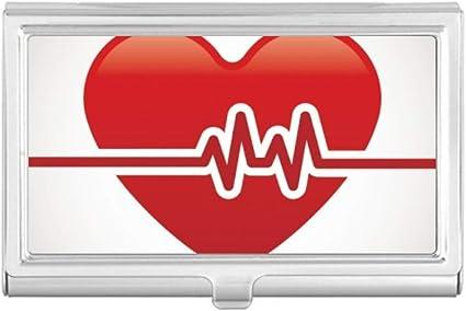 Estuche con diseño de corazón de electrocardiograma, para tarjetas de visita: Amazon.es: Oficina y papelería