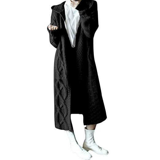 Sunhusing Autumn Winter Womens Hooded Thick Knit Cardigan Long Trench Coat Twist Pattern Sweater Coat Outwear