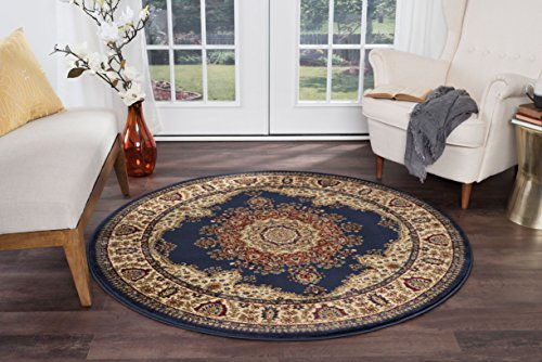 Fiona Traditional Oriental Navy Round Area Rug, 5' Round