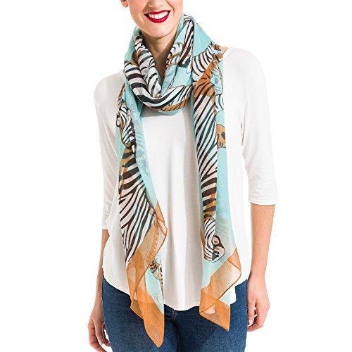 Scarf for Women Lightweight Animal Zebra Fashion Fall Winter Scarves Shawl Wraps (SS27) - Green Tiger Print
