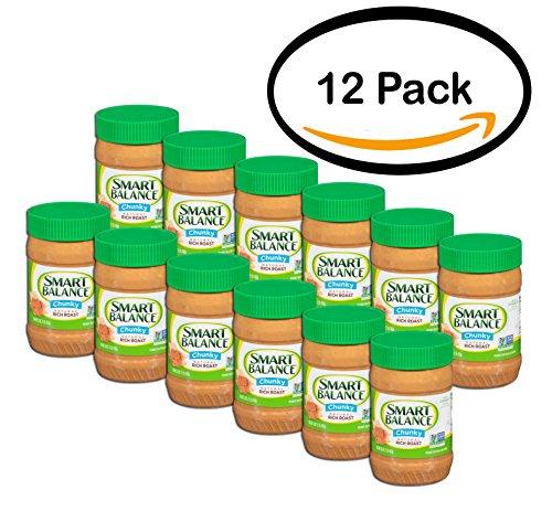 PACK OF 12 - Smart Balance Chunky Natural Rich Roast Peanut Butter 16 oz. Jar by Smart Balance