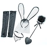 Topgee 1Set Wholesale Lace Gloves Rabbit Headband Cloth Clavicle Chain Collar Sex Sets for Couple's Flirt Toys Sex