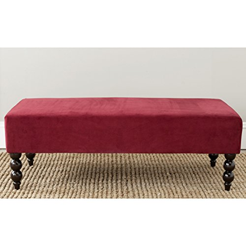 Safavieh Mercer Collection Reagan Ottoman, Red Velvet Room Accent Custom Upholstered Furniture