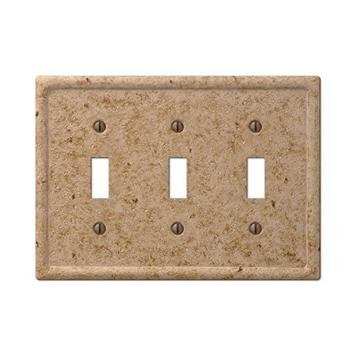 Tumbled Faux Stone Triple Toggle Switch Wall Plate, Noce Resin