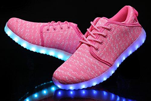 Mohem Shinynight Hög Topp Ledde Skor Lyser Usb-laddning Blinkande Sneakers Pink018