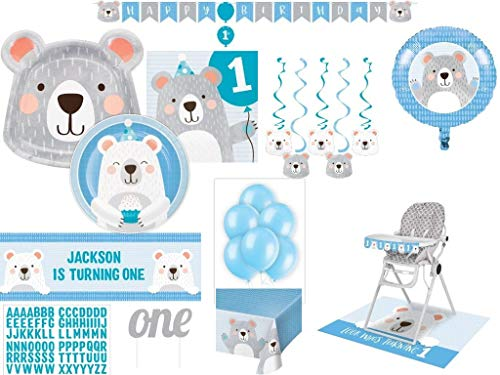 1st Birthday Blue Boy Polar Bear Deluxe Decoration and Tableware Party for 24 Guests (108 Pieces)