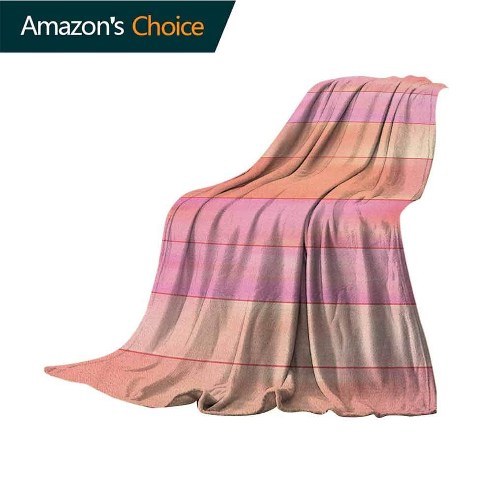 Orange and Pink Wearable Blanket,Vertical Stripes with Pastel Colors Geometric Banners Abstract Design Microfiber All Season Blanket for Bed or Couch Multicolor,50'' Wx60 L Pale Orange Pink