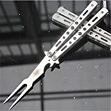 Farmunion Silver Practice Metal Steel Balisong Butterfly Trainer Training Fork Knife Tool