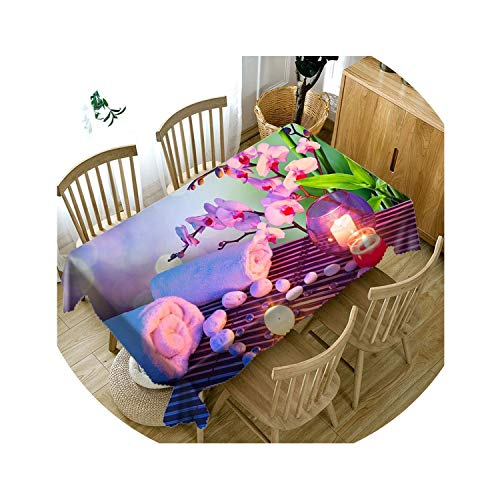 Good home luggage store Thicken Cotton Tablecloth Creative 3D Colorful Flower Dustproof Washable Cloth,A,Round Diameter180Cm