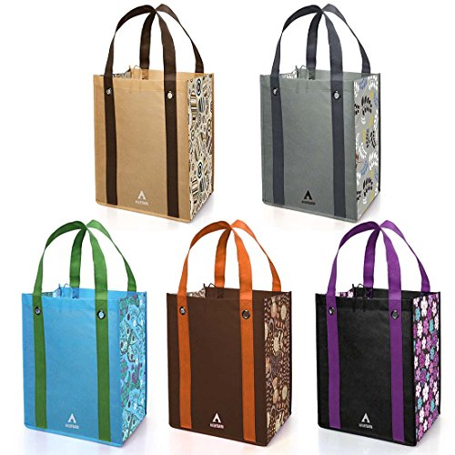 Grommet Tote Bag (Avery Barn 5pc Floral Design Grommet Reinforced Reusable Grocery Shopping Bags)