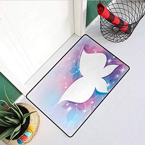 (Gloria Johnson Butterfly Universal Door mat Abstract Floral White Butterfly Silhouette on Magical Spring Meadow Door mat Floor Decoration W23.6 x L35.4 Inch Pink Light Blue White )