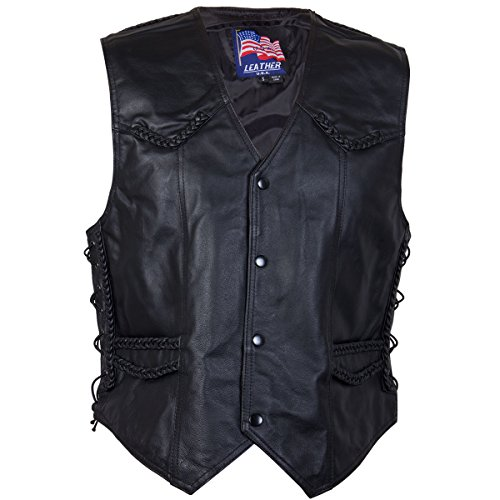 Mens 201B Black Braided Side Lace Leather Vest - - Vest Lined Fully Leather