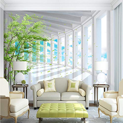 FEISENBZ Photo Wallpaper 3D Stereo Blue Sky Green Tree Space Expansion Mural Wallpaper Living Room Tv Sofa Background Wall Paper for Wall (The Sky Was The Color Of Television)