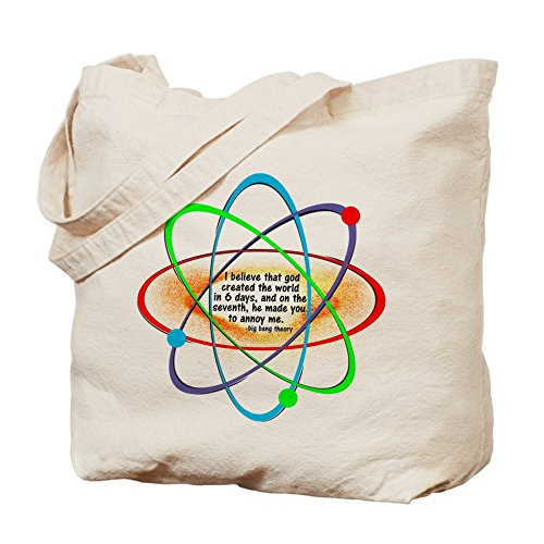 Cafepress – Big Bang Theory God created The World – Borsa di tela naturale, tessuto in iuta