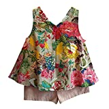 TIFENNY Baby Girls Outfit Clothes Floral Vest T-shirt+Shorts Pants Set, Clearance! (5/6T)
