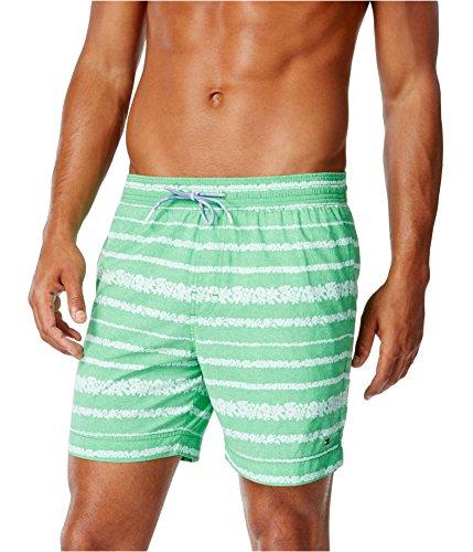 Tommy Hilfiger Mens Coolidge Floral-Stripe Swim Bottom Trunks kellygreen 3XL