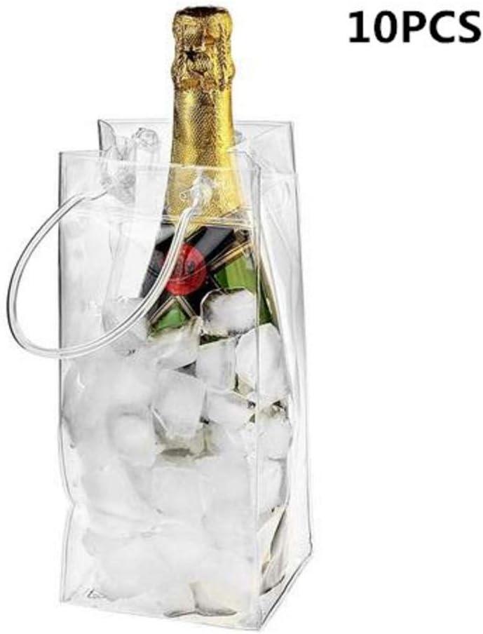Lamptti Outdoor Wine Beer Ice Bag Cooler – 10 Pack de PVC Leakproof Ice Bag Transparente Ice Pack Portátil Ice Bucket Wine Cooler Bag Champagne Bottle Chiller with Carry Handle