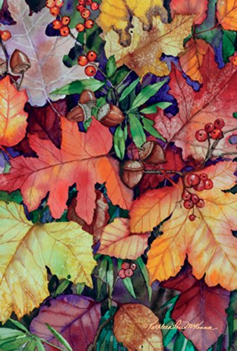 (Toland Home Garden Fallen Leaves 28 x 40 Inch Decorative Fall Autumn Leaf Acorn Berries House)