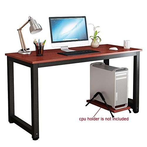 gootrades Computer Desk,47'' Sturdy Office Desk Study Writing Desk,Modern Simple Style PC Workstation Table for Home Office,Teak+ Black Leg by gootrades