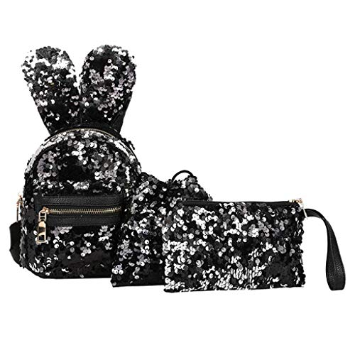 Clearance Sale,Realdo 3Pcs Fashion Student Sequins Boys Girls Backpacks+Drawstring Bag+Messenger Bag -