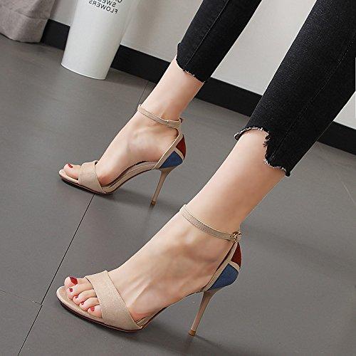Xue Qiqi Hochhackige Sandalen licht Eintrittstemperatur - toe Damenschuhe geschlitzten Lasche Detail mit Ziernaht Farbe Mode Frau Schuhe