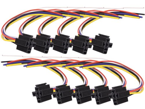 Absolute USA 5-Pin 12 VDC Interlocking Relay Socket with 12-Inch Lead, 10 Set