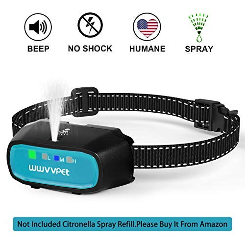 WWVVPET Spray Dog Training Collar,2 Modes Citronella Dog Bark Collar (Not Included Citronella Spray),500 ft No Electric Shock Harmless, Rechargeable Waterproof