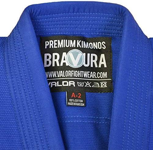 Valor Bravura Kimono BJJ azul con cintur/ón blanco