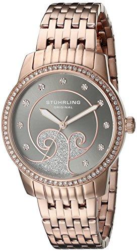 Stuhrling Original Women's 569.05 Coronet Quartz Swarovski Crystals Rose Tone Multi-Row Link bracelet Watch