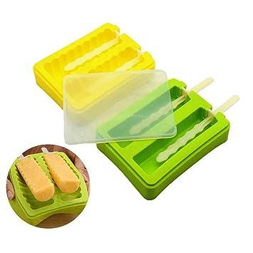 FELICIGG Moldes para paletas de hielo, moldes de paletas de silicona Moldes para paletas de hielo ...