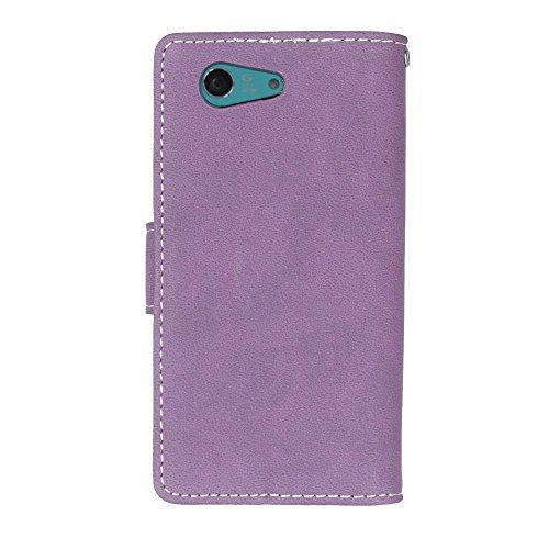 YHUISEN Xperia Z3 Mini Case, estilo retro de cuero sólido Premium PU Leather Wallet Case Flip Folio cubierta de la caja protectora con ranura para tarjeta / soporte para Sony Xperia Z3 Mini ( Color :  Purple